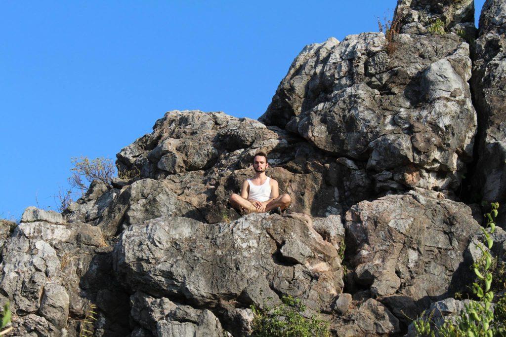 vaincre le stress avec Dorian. Au bord de la montagne on voit Dorian posé sur un rocher. Le ciel est bleu. Quelques branchages.